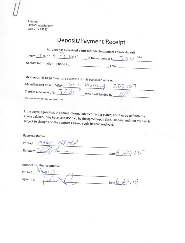 The Refundable Deposit Agreement They Signed They Then Refused To