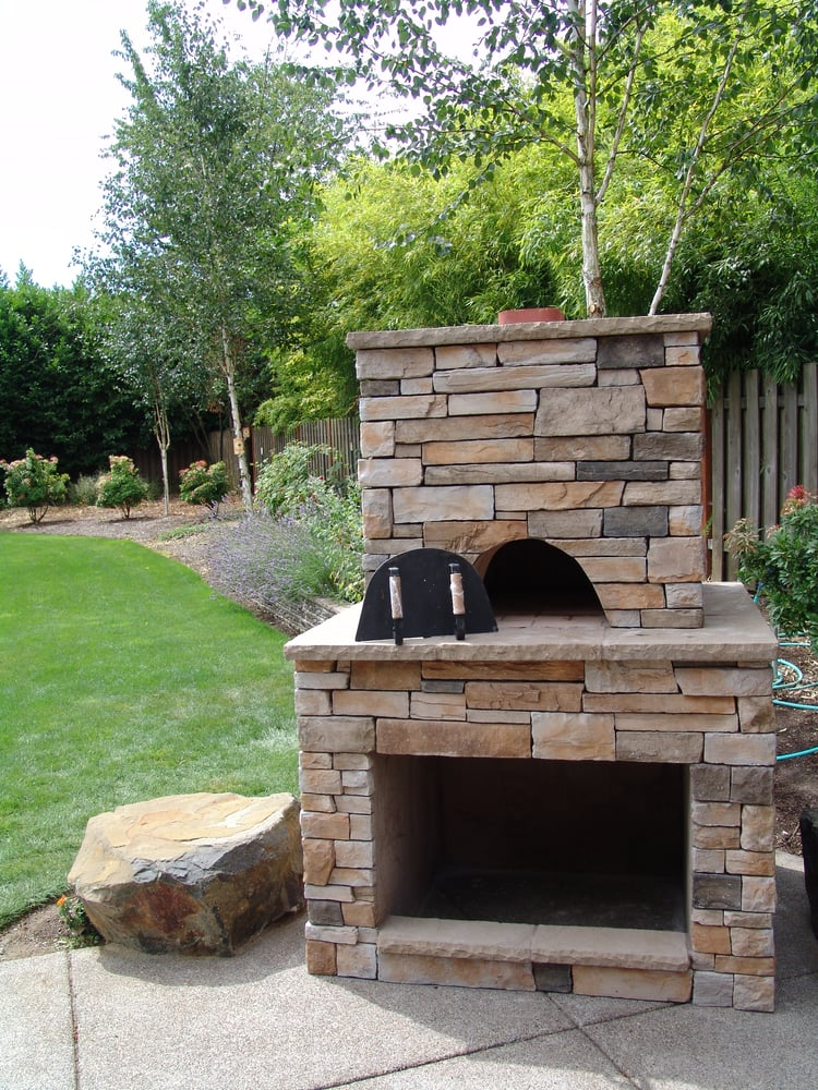 beautiful pizza oven added to a tigard home built in wood box underneath cultured stone. Black Bedroom Furniture Sets. Home Design Ideas