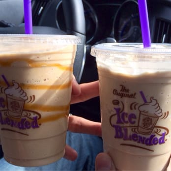 Caramel Ice Blended On The Left And Vanilla Ice Blended On