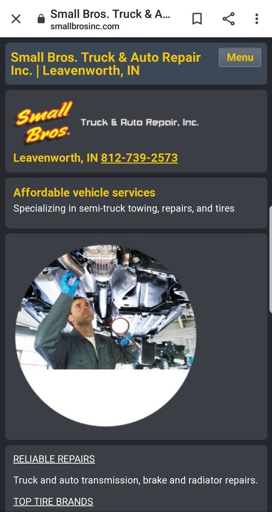 Small Brothers Truck & Auto Repair: 6948 S State Road 66, Leavenworth, IN