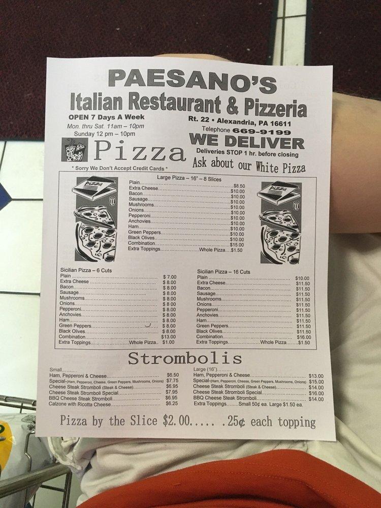 Paesano's Italian Restaurant & Pizzeria: 5731 William Penn Hwy, Alexandria, PA