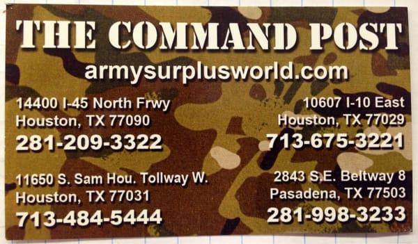 Command Post-Army Surplus 2843 E Sam Houston Pkwy S Pasadena