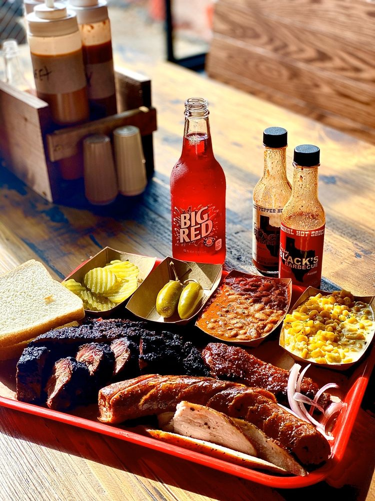 Food from Terry Black's Barbecue