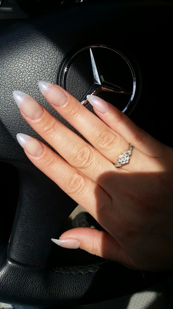 Pointy acrylic nails w/a natural, sheer, pearl gel polish. Thanks ...