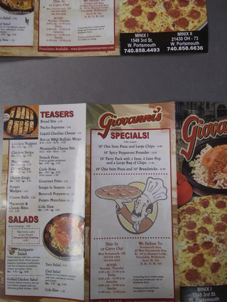 Minix's Giovanni's I: 1548 3rd St, West Portsmouth, OH