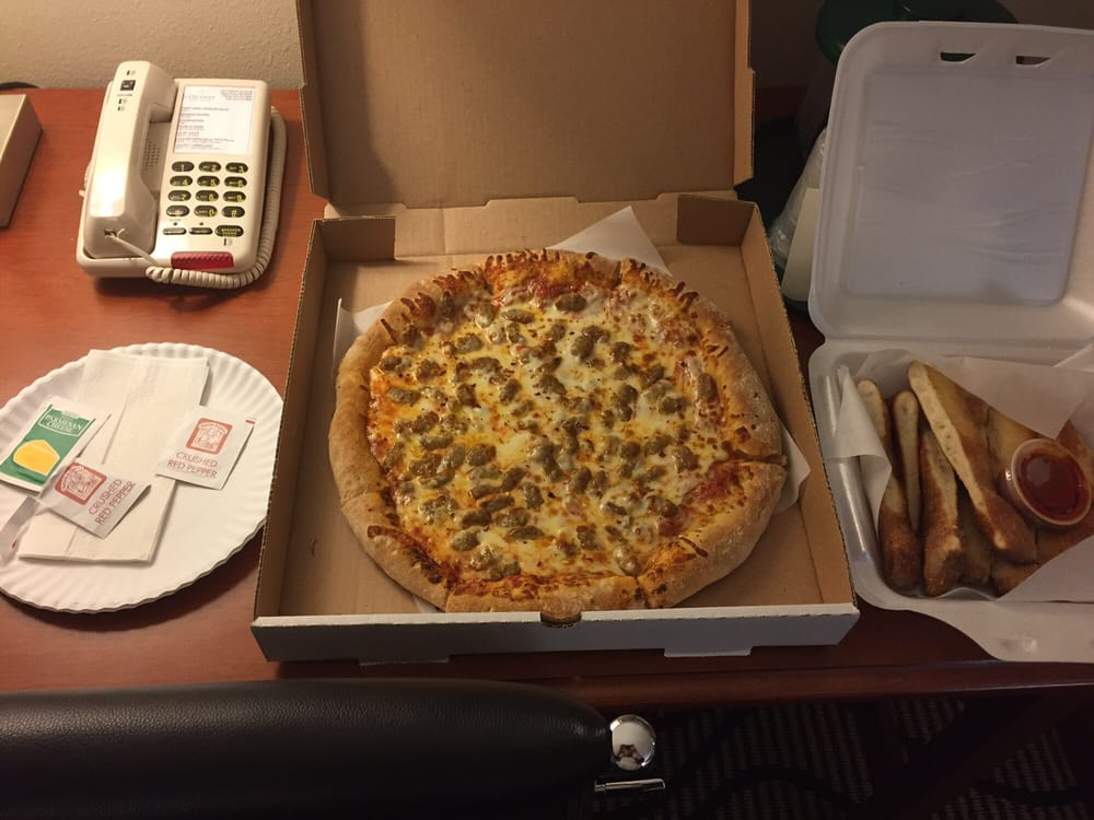 Photo of Diegou0027s Pizza - Santa Rosa NM United States. Medium Italian sausage & Medium Italian sausage pizza and breadsticks for $10.99 - a great ...