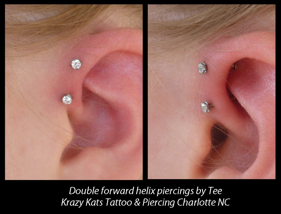 Double Forward Helix Piercing By Tee Krazy Kats Yelp