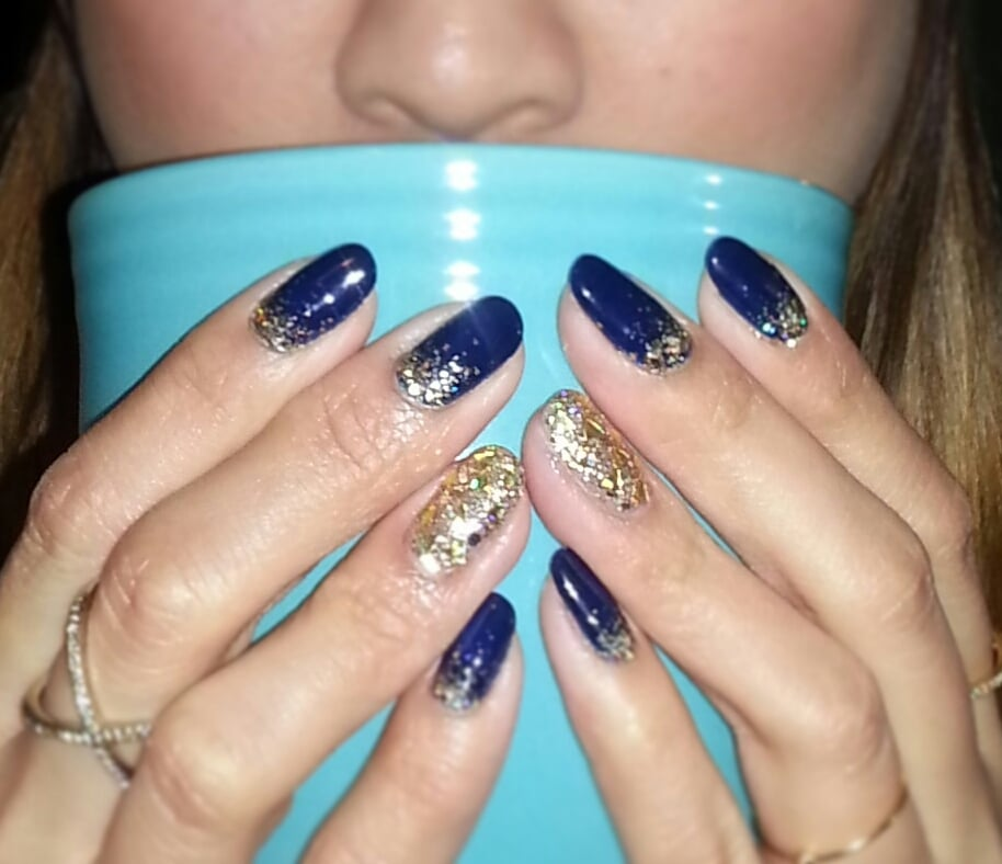 Navy blue gel and gold glitter. - Yelp