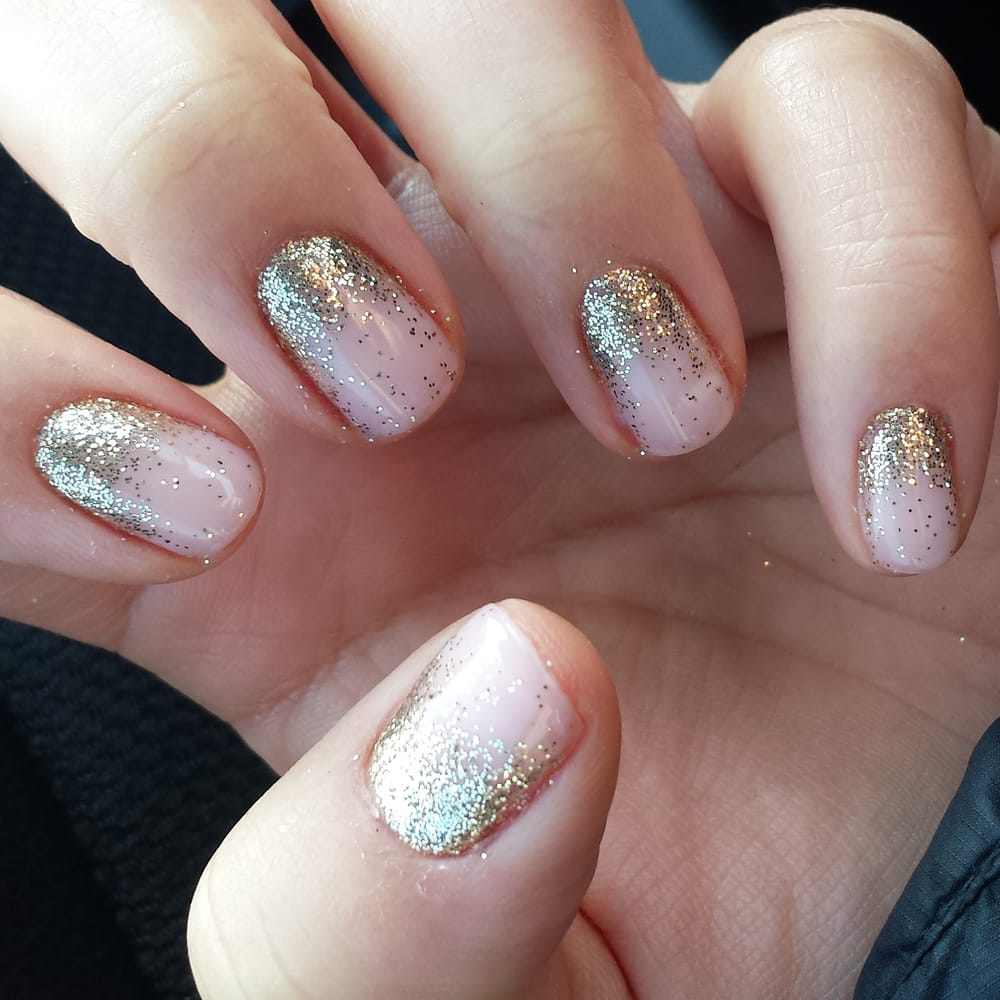 Ling is the best! Gold glitter and pink shellac reverse ombre. - Yelp