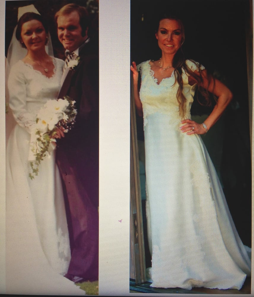 My mom wearing her dress on her wedding 1970 39 s and then for Wedding dress tailor near me