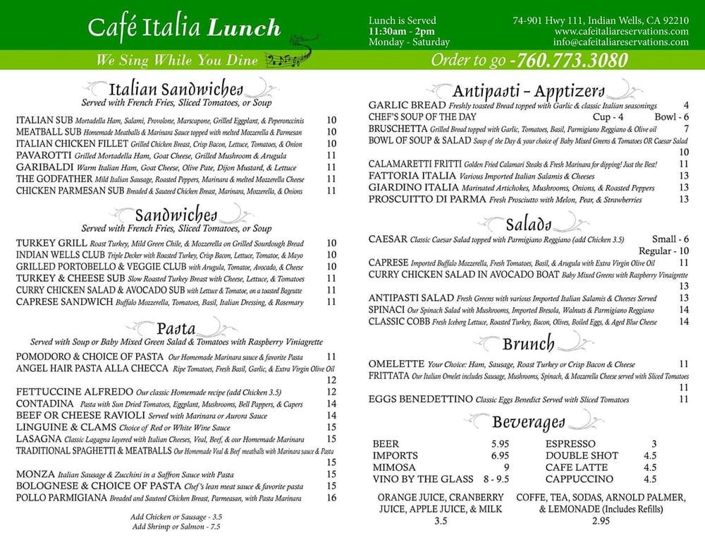 Cafe Italia Take Out Menu
