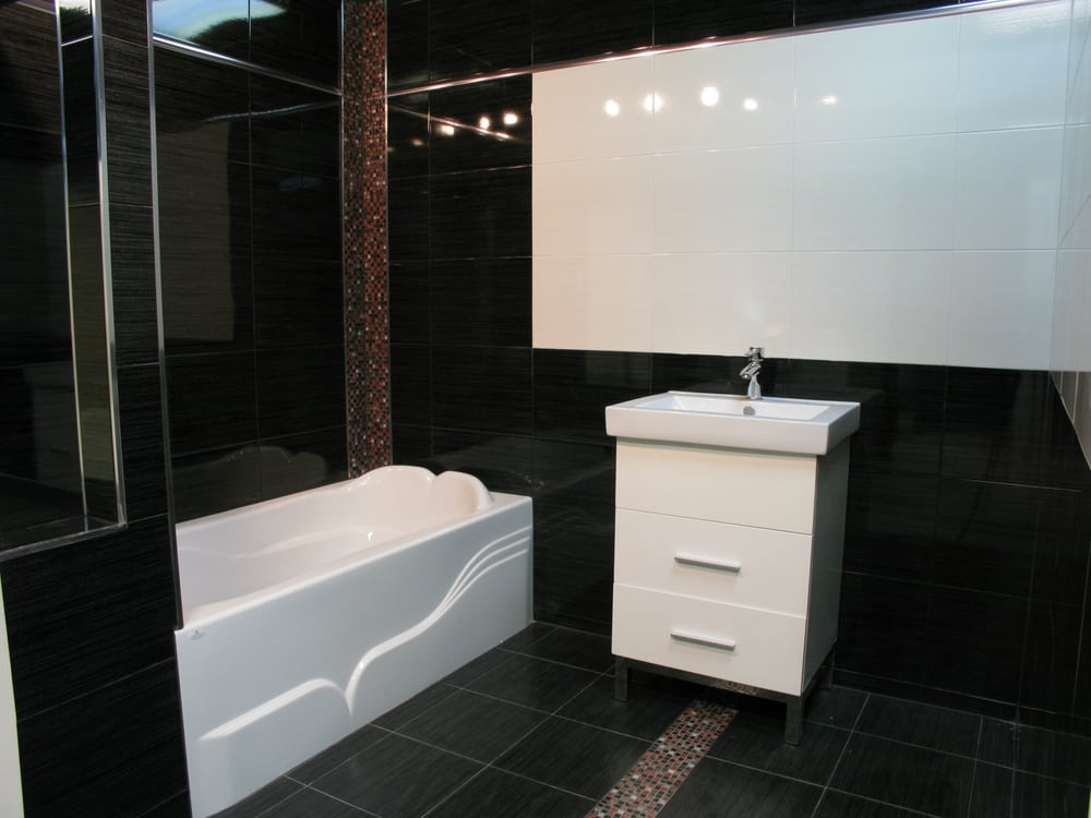Bathroom Designed And Installed Display High Gloss Black White Fixtures Yelp