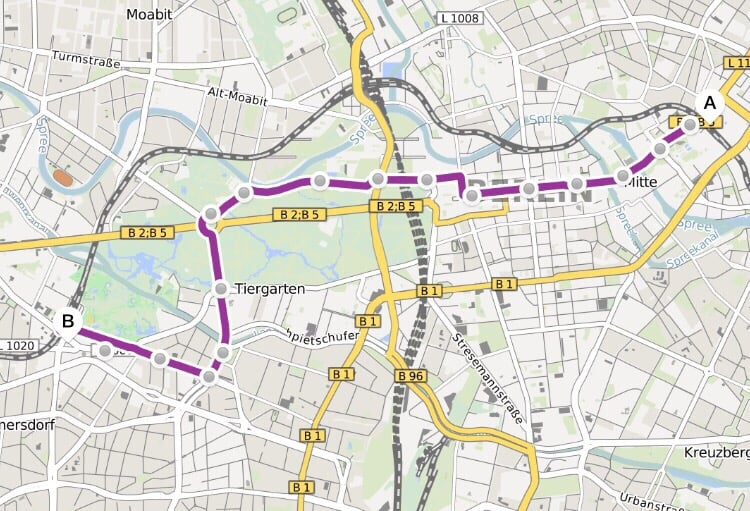 route from alexanderplatz in the east to zoologischer garten in the west the purple line is. Black Bedroom Furniture Sets. Home Design Ideas