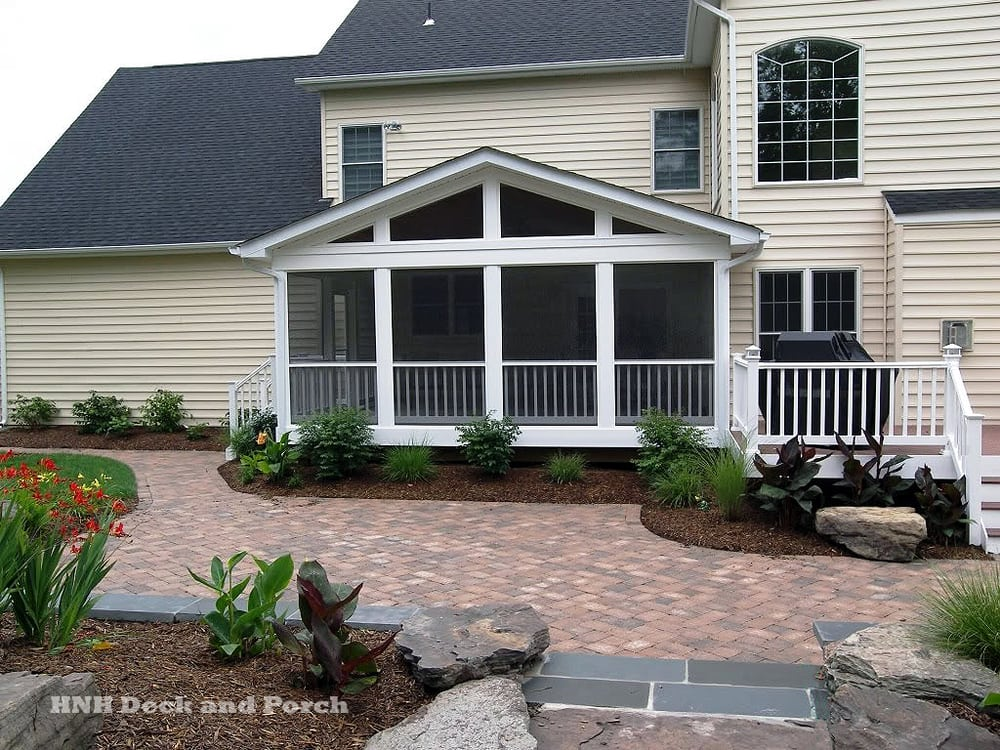 Screened Porch And Deck With Azek Brownstone Decking Wide