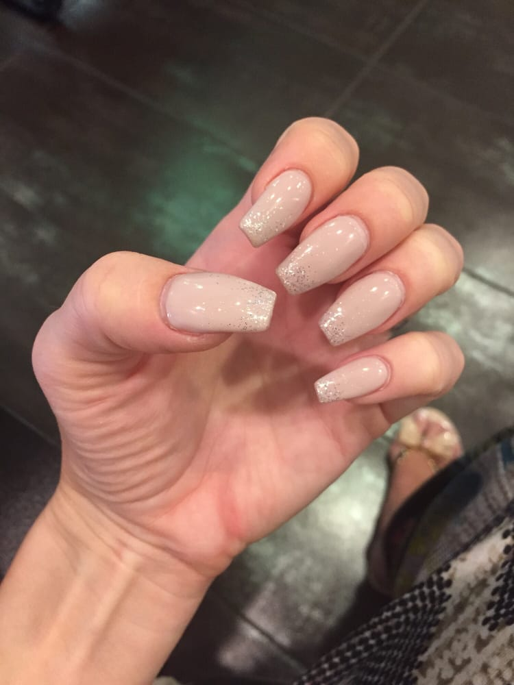 Coffin shape, Natural gel polish with white diamonds sparkle on tips ...