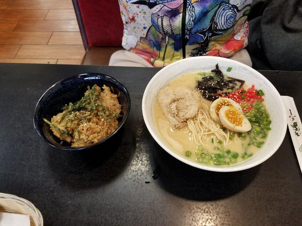 Tonkatsu ramen with a side of pork belly seasoned rice - Yelp