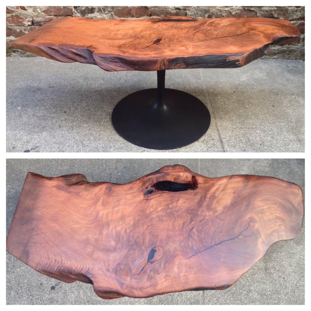 1st Generation Redwood Burl Coffee Table With Refurbished Vintage Mid Century Aluminum Pedestal