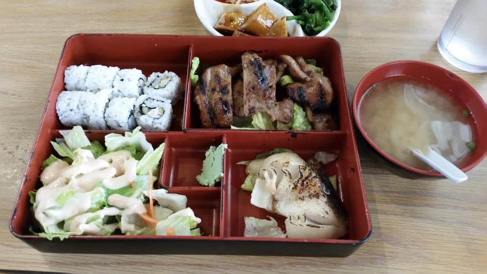 Lunch combo with miso butter fish teri chicken green salad california roll and miso soup yelp - Cuisine soort ...