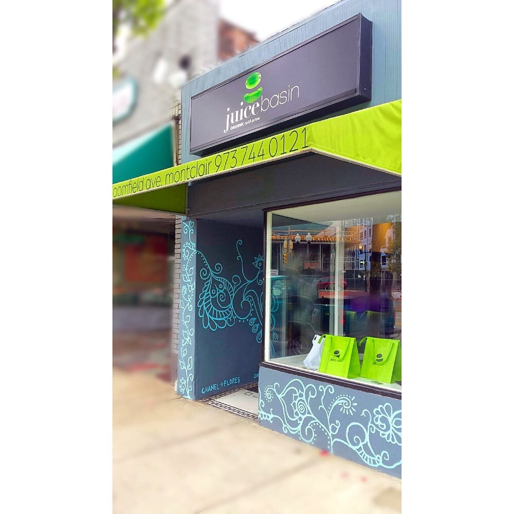 Hand Painted Mural Lime Green Awning