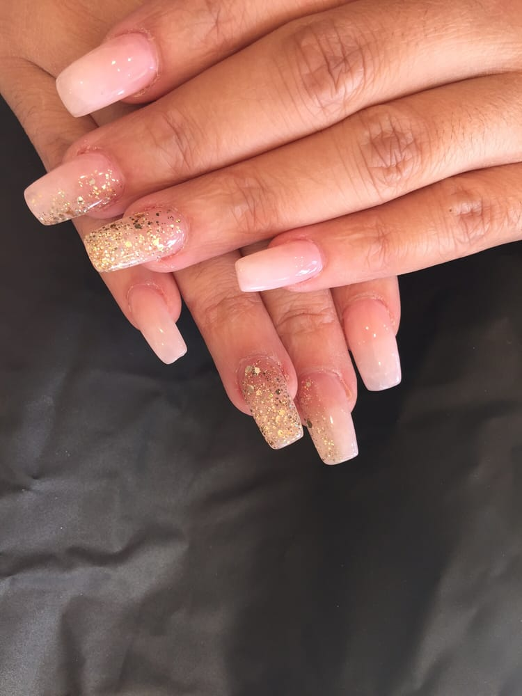 Ombré French acrylic tip with gold flakes ... nails done by LANY - Yelp