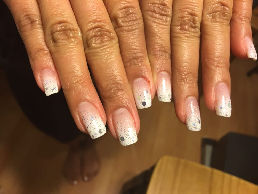 White Glitter Gradient gel nails (real, not acrylics) - Yelp