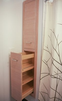 Pull out bathroom cabinet by west end wood products yelp for Bathroom cabinets yelp