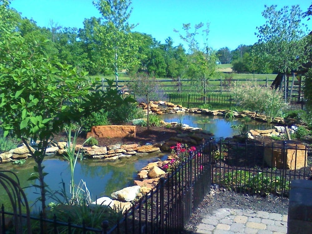 A 2 tier koi pond with connecting stream yelp for Pond companies near me