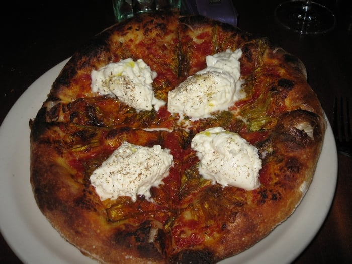 ... - Los Angeles, CA, United States. Burrata and Squash Blossom Pizza