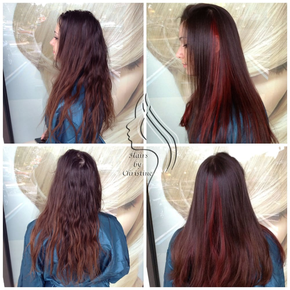 Balanced Out Mocha Brown Base With Fire Red Peekaboo Highlights Yelp
