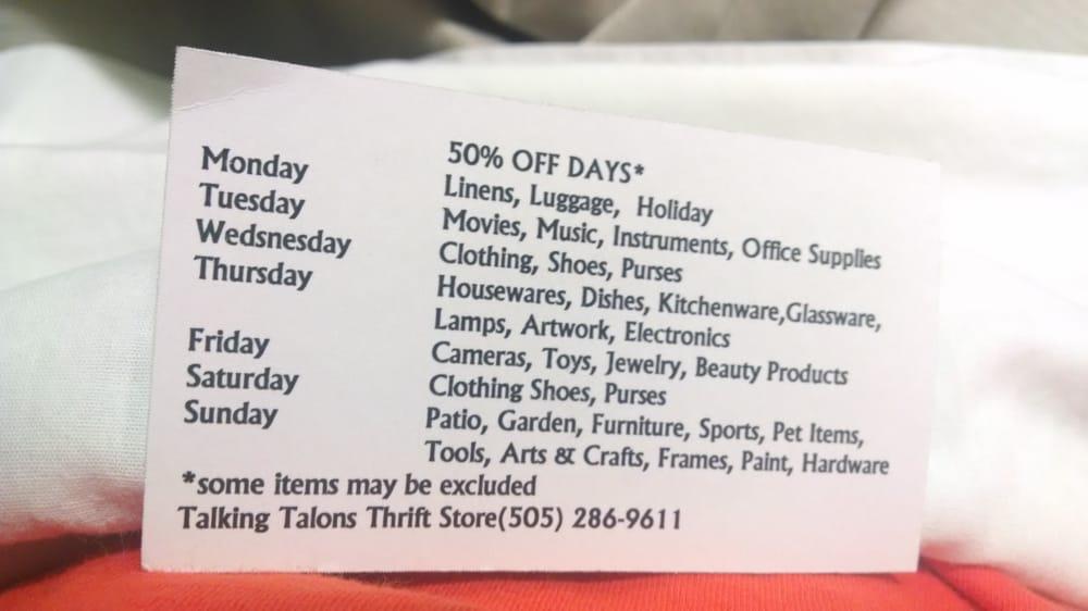 Talking Talons Thrift Store: 12159 N Hwy 14, Cedar Crest, NM