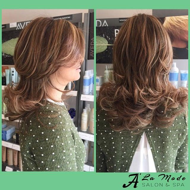 Medium sun blonde highlights light golden brown base with for A la mode salon brooklyn