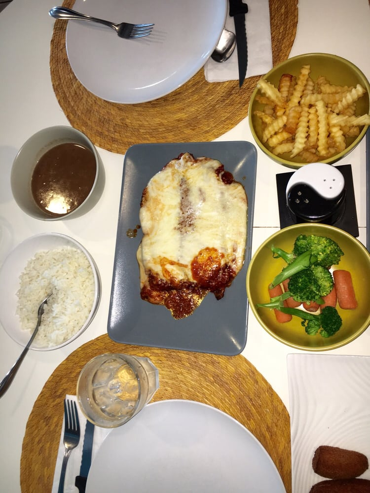 Parmigiana chicken with french fries veggies rice and for Ana s kitchen orlando