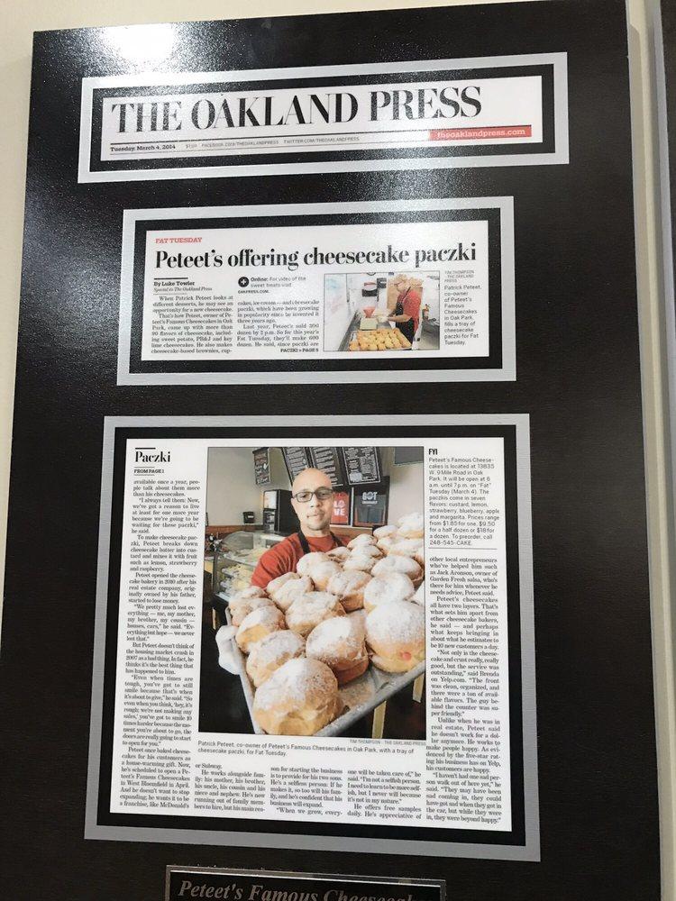 Peteet's Famous Cheesecakes: 13835 W9 Mile Rd, Oak Park, MI