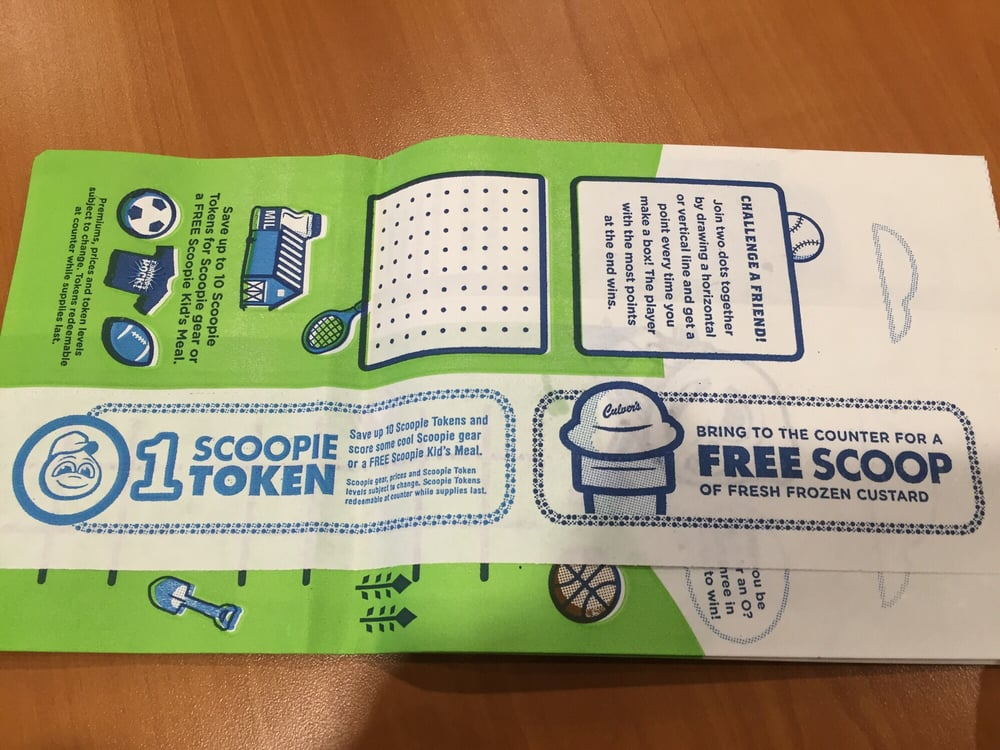 Culvers scoopie tokens prizes images