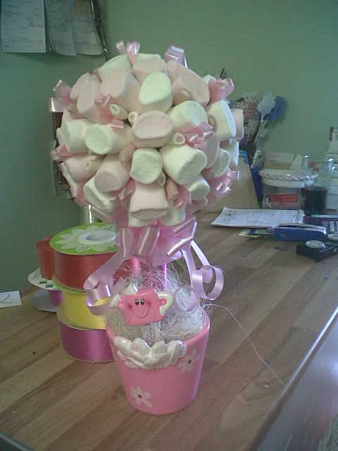 PINK AND WHITE MARSHMALLOW TOPIARY TREE IN PRETTY PINK POT - Yelp