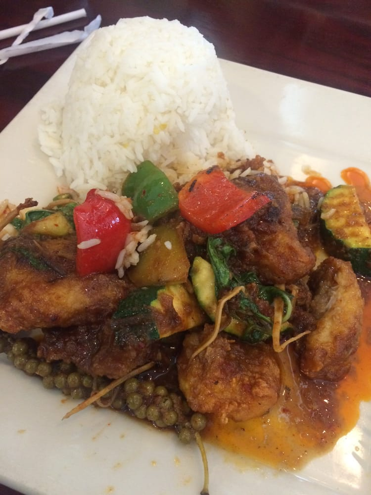 Spicy fried cat fish with white rice yelp for Amarin thai cuisine