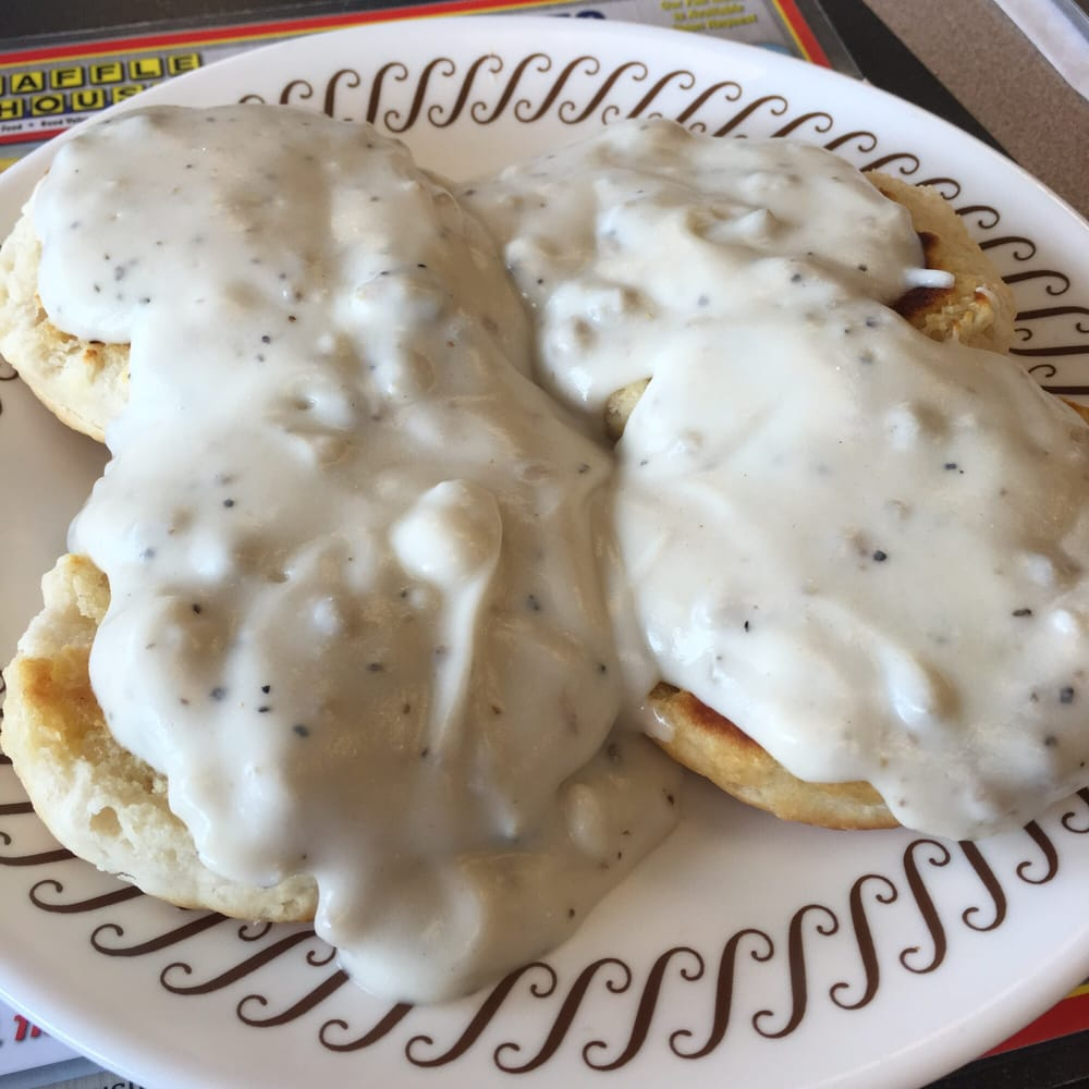 Two Grilled Biscuits And Gravy Probably The Best I Ve Ever
