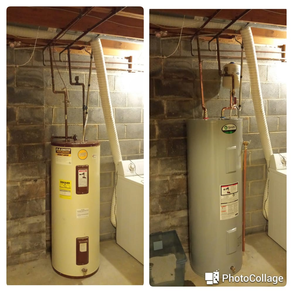 Old g water heater on left new with expansion tank