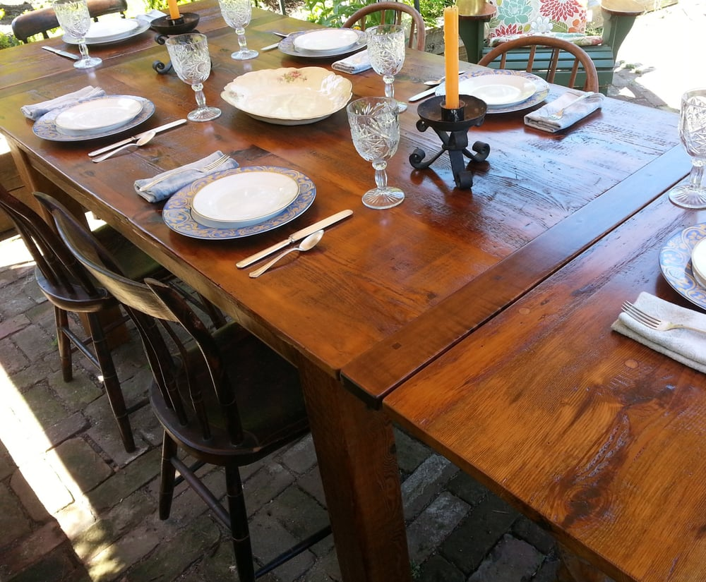 Reclaimed Wood Dining Table With End Leaves And Tiger Maple Bread