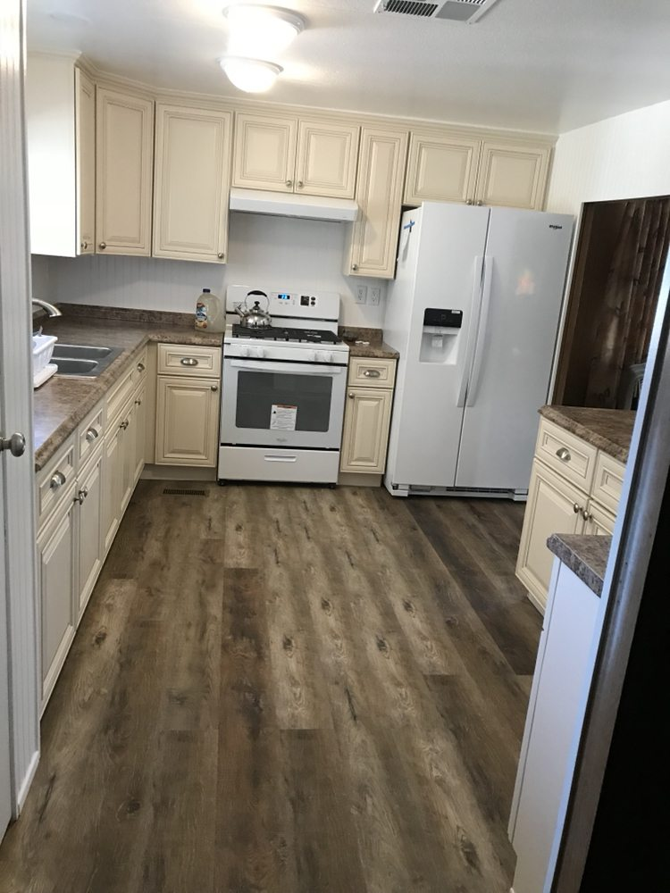 Kitchen remodel in a mobile home after water damage to ...