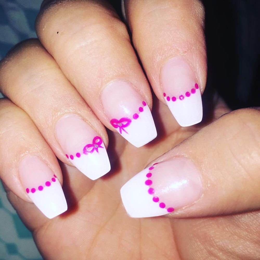 Coffin shape, French Tips, and bows - Yelp