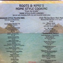 Boots Kimo S Homestyle Kitchen Menu