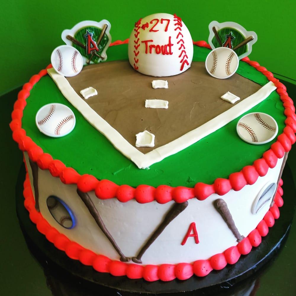 Angels Baseball Mike Trout Fan Dulce De Leche Birthday Cake Yay