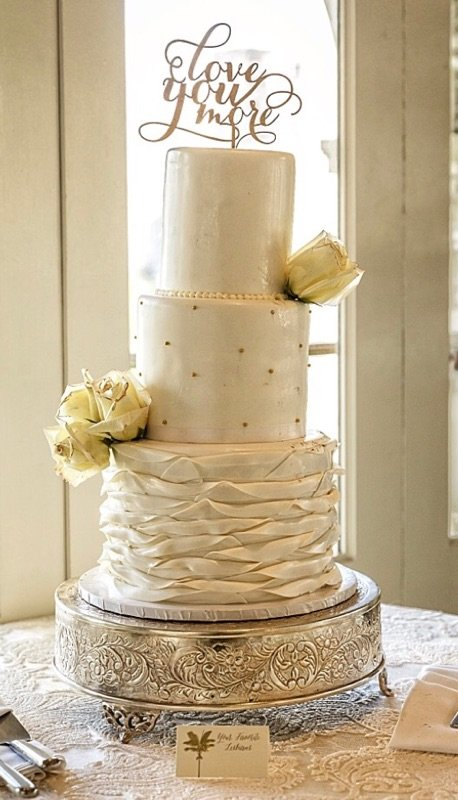 Photo of my cake leaning over, before my ceremony even started ...