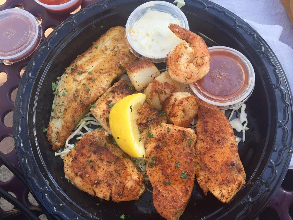 The mixed seafood plate mahi mahi salmon shrimp for Oceanside fish report