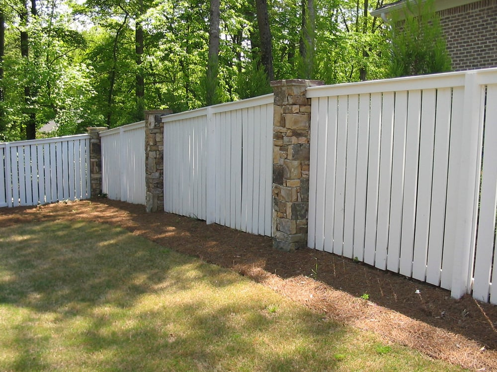 Wood And Stone Column Fence Designed And Built By Atlanta