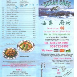 Ocean Chef Chinese Food Plymouth Ma