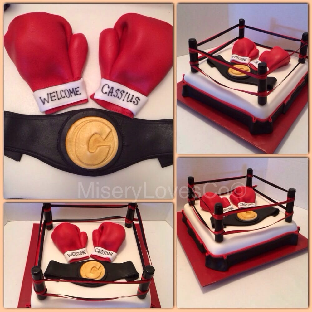 The baby boxer baby shower cake!! All edible gloves and ...