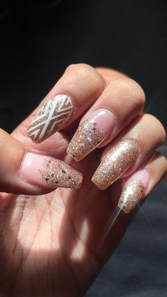 Nails by Linda - nude color acrylic and rose gold glitter with hand ...