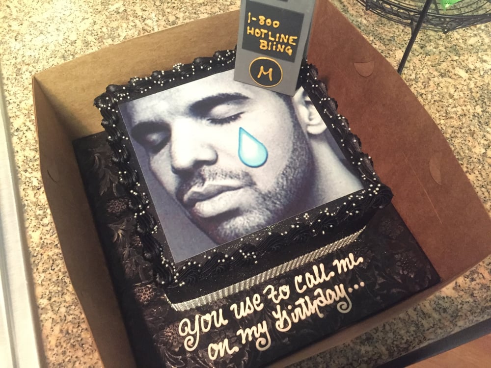 Perfect Drake cake with a hotline bling theme You used to call me